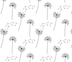 black + white blowing dandelions fabric by misstiina on Spoonflower - custom fabric