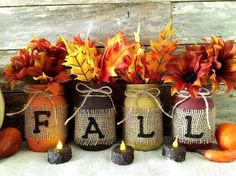 Fall Mason Jars set of 4 Distressed mason jars, pint or Quart sized mason jar. What a fabulous way to decorate for fall. This is for 4 rustic fall mason jars. Great for seasonal decor or wedding centerpieces! Choose your siz Pot Mason Diy, Fall Mason Jars, Mason Jar Crafts, Halloween Mason Jars, Mason Jar Pumpkin, Mason Jar Christmas Crafts, Burlap Mason Jars, Mason Jar Projects, Fall Halloween