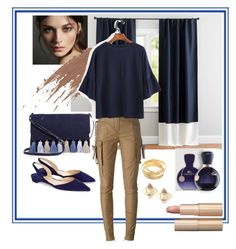"""""""Blue and tan"""" by metka-belina on Polyvore featuring Pottery Barn, Rebecca Minkoff, Burberry, Balmain, Paul Andrew, Lacoste, Valentino and Charlotte Tilbury"""