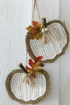Burlap  Book Page Pumpkins 20 North Ora: Cute Little Pumpkin Door Hanger Found on post from  Sept 17, 2013