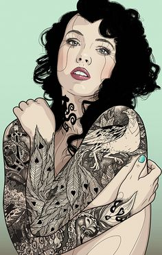 """""""The Girl With The Peacock Tattoo"""" - Tavo Montañez {contemporary figurative artist beautiful female head shoulders woman face portrait illustration #loveart} <3"""