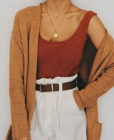 high white trousers with a red blouse and burnt orange vest. Visit Daily Dress Me at dailydres . - high white trousers with a red blouse and burnt orange vest. Visit Daily Dress Me at dailydres … - Mode Outfits, Casual Outfits, Fashion Outfits, Womens Fashion, Fashion 2018, Earthy Outfits, School Fashion, Hijab Casual, Casual Pants