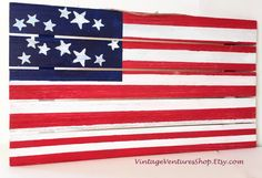 Palette wood hand painted in US Flag theme, has rope for hanging sign to buy click image at #VintageVenturesShop #Etsy #USflag #Patriotic #MemorialDay #IndependenceDay #PaletteWood #WoodSign #CountryDecor #AmericanFlag #MilitaryPride #Military #USFlagWood #RusticDecor #RedWhiteBlue #StarsandStripes #OldGlory