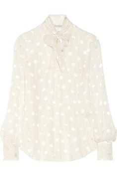 Jason Wu Polka-dot jacquard silk-blend chiffon blouse NET-A-PORTER.COM