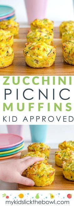 These Zucchini Picnic Muffins are a simple Egg Muffin with rice cheese and veggies. A full meal in one muffin! Great for kids and lunchboxes breakfast or a healthy veggie-packed snack! Healthy Picnic Foods, Picnic Snacks, Healthy Snacks For Kids, Picnic Food Kids, Picnic Dinner, Easy Picnic Food Ideas, Vegetarian Picnic, Pinic Food Ideas, Kids Cooking Recipes