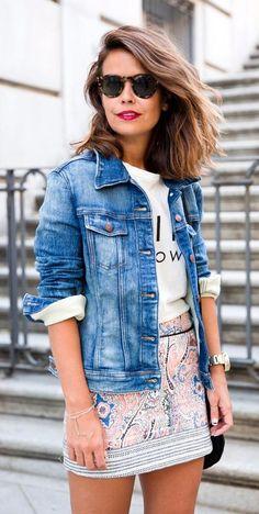 spring fashion  Denim Jacket & Printed Skirt & White Printed Top