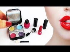 DIY Real Miniature Makeup - Eye Shadow, Lipstick, Mascara, Nail Polish - Easy Doll Crafts: Learn how to make miniature makeup that actually works and is. Miniature Crafts, Miniature Dolls, Doll Crafts, Diy Doll, Doll Makeup, Costume Makeup, Diy Barbie Furniture, Mini Makeup, Sugar Skull Art