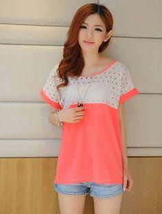2013 Fashion Polka Dots Round Collar Short Sleeve Blouse