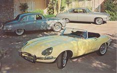 Jaguar XK-E roadster, 3.8S Sports Sedan & 4.2 Sedan, advertising postcard, USA, # 3034-C, 1966