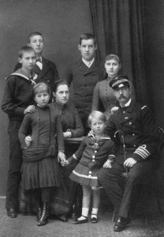Queen Olga with her husband and children - Konstandtin,George,Alexandra ,  Nichlas ,Maria and Andrew (Father of Prince Philip, Duke of Edinburgh).