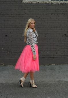 Leopard top and tulle skirt | Raspberry Glow
