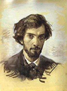 "* Isaac Ilich Levitan *  Auto-Retrato.  (1880). (* Kybartay, Lituânia, 1861 - Moscou, 1900). Pintor. Pertenceu ao Movimento Artístico dos ""Itinerantes"". Seu 1º Quadro foi ""Paisagem de Outono"". Era chamado de ""Pintor-Poeta"". Foi membro da Academia e Artes Russa."