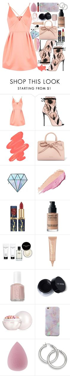 """""""Dresses Under $100"""" by fangirl-preferences ❤ liked on Polyvore featuring Topshop, Giuseppe Zanotti, Obsessive Compulsive Cosmetics, Mansur Gavriel, Unicorn Lashes, By Terry, MAKE UP FOR EVER, Bobbi Brown Cosmetics, tarte and Essie"""
