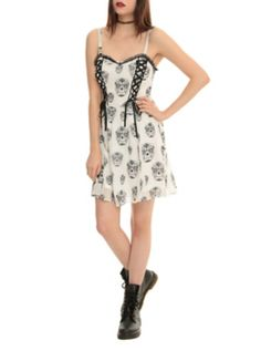 Royal Bones Sugar Skull Lace-Up Dress This is really cute -but it needs to be any color other than white. It'd be really cute in blue, red or purple!