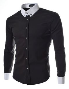 TheLees (DST6) Mens Casual Slim Fit 2 Tone Dress Shirts Black Large(US Medium) TheLees