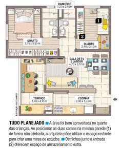 Apartamento pequeno com ambientes integrados e decoração neutra   Minha Casa Single Apartment, Apartment Floor Plans, Granny Flat, Home Projects, House Plans, Villa, Cottage, Flooring, How To Plan