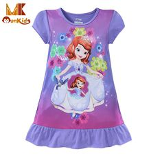 Monkids 2017 Nightdress Pretty Explosion Models Cartoon Girls Dresses Paragraph Baby Girl Clothing Dress Girls Nightgowns