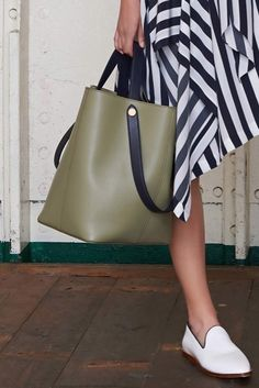 Kite green leather tote