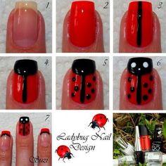Ladybug Nail Art Tutorial / Beauty by Suzi: Nail Art and Design Fancy Nails, Love Nails, Pretty Nails, Nail Art Diy, Diy Nails, Ladybug Nail Art, Do It Yourself Nails, Animal Nail Art, Nails For Kids