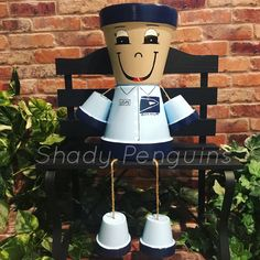 Excited to share this item from my shop: Mailman Flower Pot People / indoor decor/ outdoor decor/ garden statue/ flower pot Flower Pot People, Clay Pot People, Clay Pot Crafts, Diy Clay, Room Partition Designs, Decorative Bird Houses, Dining Room Walls, Garden Statues, Clay Pots