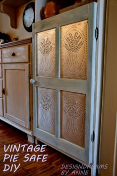 Cabinet to Vintage Pie Safe! Tutorial is excellent and unbelievably Easy to create ! It is rare at this point for a DIY project to shock me, but this transformation blew me away! Redo Furniture, Repurposed Furniture, Home Projects, Home Diy, Diy Kitchen Cabinets, Primitive Decorating, Diy Kitchen, Furniture Makeover, Tin Panel