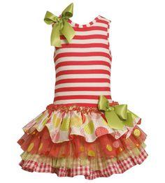 Amazon.com: Bonnie Jean Little Girls 4-6X Striped Knit to Multi Tiered Mix-Print Drop Waist Dress (4, Coral): Clothing
