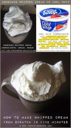 My recipe for addictive homemade whipped cream: pour 1 pint of fresh heavy cream in an ICE COLD mixing bowl, add 4 TBS powdered sugar and 2 tsp of vanilla extract.  Mix on low and then whip on high until fluffy!  Enjoy!!  Your guests will love you forever!