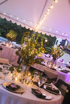 Reception at dusk, with round tables under a tent. Wedding Planning Inspiration, Styling A Buffet, Maine House, Wedding Locations, Great Rooms, Special Events, Tent, Wedding Flowers, Presents