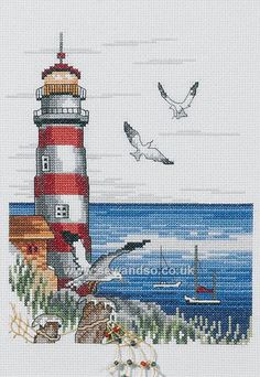 Buy Lighthouse & Seagulls Cross Stitch Kit Online at www.sewandso.co.uk