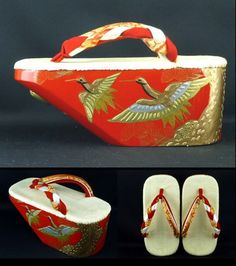 松鶴ぽっくり: lacquered wooden clogs with rounded soles for little girls in kimono,  pine and cranea