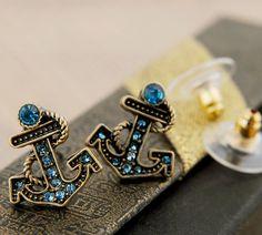 Nautical Blue Rhinestone Anchor Earings - #nautical