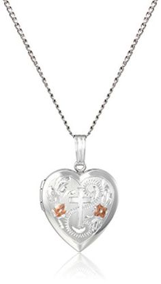 """Sterling Silver Engraved Cross Heart Locket Necklace, 18"""" Amazon Collection-$50.13 http://www.amazon.com"""