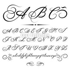 Vector Alphabet based on calligraphy masters of the 18th century