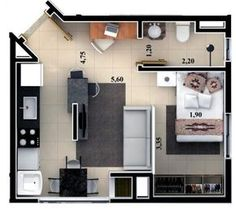 Floor plan rendering by on DeviantArt Studio Apartment Floor Plans, Studio Apartment Layout, Apartment Plans, Apartment Design, Layouts Casa, House Layouts, Garage Apartments, Small Apartments, Small House Plans