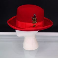 6ecac906b8d Stacy Adams Mens Homburg Fedora Hat Red Wool Felt Made In USA