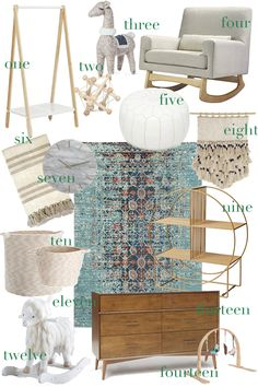 modern, natural baby boy nursery decor inspiration board with cozy textures and neutral tones // Leslie Musser one brass fox