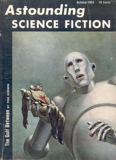 """In order: Frank Kelly Freas' cover to Astounding Science Fiction, October 1953; Taizo Iwai's cover to 「われはロボット」, 1971; and Queen's 1977 """"News of the World"""" album art, again by Frank Kelly Freas.pic.twitter.com/jp3tUzRvnS"""