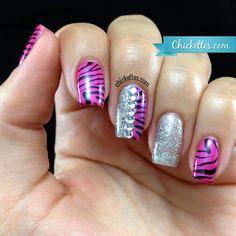 Chickettes.com - Shellac Tutti Frutti with Zebra Print, Glitter & Rhinestones
