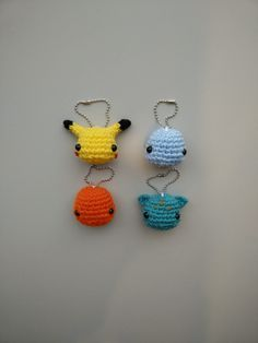 Post with 508 views. A few days ago, I posted a photo of a pokemon keychain set. Today, I sat down to make a few more.but minimalistic versions. Pokemon Crochet Pattern, Pikachu Crochet, Amigurumi Patterns, Knitting Patterns, Crochet Patterns, Crochet Ideas, Quick Crochet, Cute Crochet, Crochet Crafts