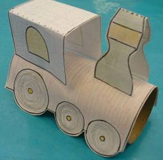 Toilet paper roll printable Train Craft - an idea for Bee's bday party.the kids could make them, then play with them? Toilet Roll Craft, Toilet Paper Roll Art, Rolled Paper Art, Projects For Kids, Crafts For Kids, Paper Train, Train Crafts, Transportation Crafts, Diy Rocket