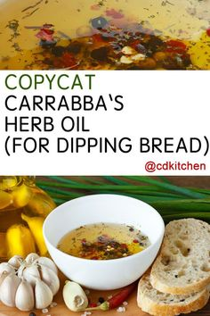 Carrabba's Herb Oil for Dipping Bread - copycat recipe -- The herb blend of basil, parsley, and rosemary are what make this bread dipping sauce recipe a close copycat to Carraba's version. Dip Recipes, Copycat Recipes, Sauce Recipes, Cooking Recipes, Herb Recipes, Party Recipes, Bread Recipes, Dinner Recipes, Bread Appetizers