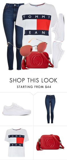 """""""Tuesday"""" by smartbuyglasses ❤ liked on Polyvore featuring Vans, Topshop, Tommy Hilfiger, Gucci, Ray-Ban, red and rayban"""