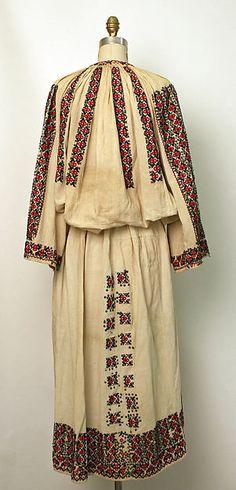 Ensemble Date: late century Culture: Romanian Medium: cotton Folk Costume, Costumes, 1800s Fashion, 19th Century, Kimono Top, Style Inspiration, Cotton, Ornament, Outfits