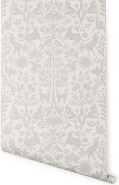 Otomi Wallpaper, Pewter - contemporary - wallpaper - Hygge & West