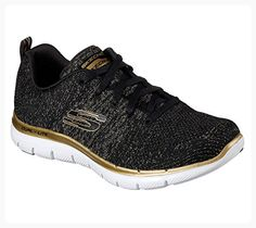 new style bd11b b7866 Skechers Women s Flex Appeal Opening Night Training Sneaker,Black Gold,US  Comfort. Skor Online