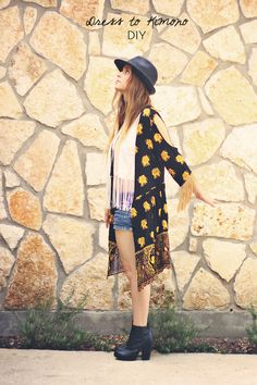 Dress to Kimono DIY.. totally adore this, I really hate that the Danish thrift shops aren't as cool as the ones i US or UK.. or maybe i'm just so freaking bad at finding a disguised diamond..