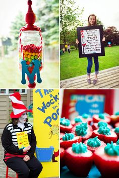 Playful Cat in the Hat First Birthday {Dr. Seuss Theme} // Hostess with the Mostess® Grad Parties, First Birthday Parties, Boy Birthday, First Birthdays, Happy Birthday, Birthday Ideas, Dr Suess Baby, Baby Shower Parties, Party Planning