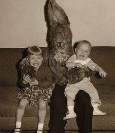 OK, this is just a reused Wolfman costume. | 19 Vintage Easter Bunny Photos That Will Make Your Skin Crawl