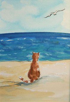Beach Cat  by bluemoonart, via Flickr