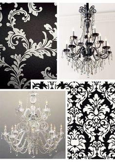 Love black & white damask
